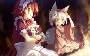 Rating: Safe Score: 75 Tags: 2girls animal animal_ears apron bow breasts cat cleavage favorite fire foxgirl game_cg headdress irotoridori_no_hikari irotoridori_no_sekai japanese_clothes kimono loli long_hair maid mask minami_kana_(irotoridori) red_hair ren_(irotoridori_no_sekai) ribbons shida_kazuhiro short_hair white_hair yellow_eyes User: Maboroshi