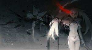 Rating: Safe Score: 107 Tags: anchovy_(artist) black_rock_shooter blood fang long_hair navel polychromatic shorts twintails weapon white_rock_shooter User: sadodere-chan