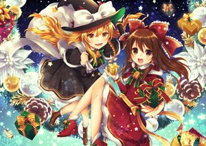 Rating: Safe Score: 18 Tags: 2girls blonde_hair boots brown_eyes brown_hair christmas hakurei_reimu hat kirisame_marisa long_hair ribbons stars tagme_(artist) touhou witch yellow_eyes User: sadodere-chan