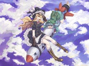 Rating: Safe Score: 68 Tags: 2girls goggles hat kawashiro_nitori kirisame_marisa mimi-chan mumulatte touhou witch witch_hat User: FormX