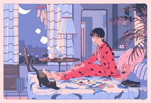 Rating: Safe Score: 45 Tags: animal aorkgk barefoot bed black_hair book braids building cat city drink long_hair moon night original pajamas ponytail signed silhouette sky stars teddy_bear tree User: otaku_emmy