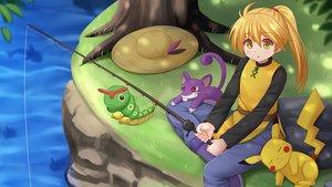 Rating: Safe Score: 34 Tags: animal blonde_hair caterpie hat kazenokaze long_hair mouse pikachu pokemon ponytail rattata water yellow_eyes yellow_(pokemon) User: luckyluna