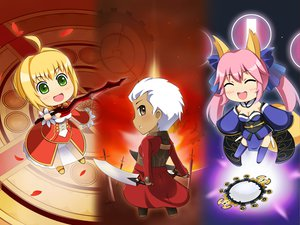 Rating: Safe Score: 37 Tags: animal_ears archer blonde_hair blush brown_eyes chibi dark_skin dress fate/extra fate_(series) fate/stay_night foxgirl green_eyes japanese_clothes long_hair male nero_claudius_(fate) pink_hair ribbons short_hair sword tail tamamo_no_mae_(fate) thighhighs twintails weapon white_hair User: Tensa
