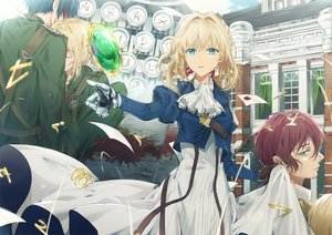 Rating: Safe Score: 34 Tags: aqua_eyes blonde_hair claudia_hodgins dangmill dress gilbert_bougainvillea gloves male paper short_hair techgirl violet_evergarden violet_evergarden_(character) User: RyuZU
