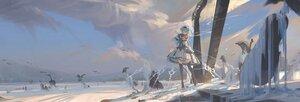 Rating: Safe Score: 71 Tags: animal bird blue_hair boots clouds dress eula_lawrence genshin_impact headdress instrument polychromatic purple_eyes scenic short_hair sky snow violin void_0 User: Tensa