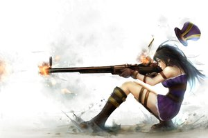 Rating: Safe Score: 362 Tags: black_hair boots caitlyn gun hat league_of_legends long_hair weapon zhang_xiao_bo User: Wiresetc