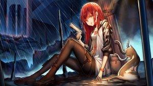Rating: Safe Score: 36 Tags: animal cat dysoor gun long_hair original pantyhose red_hair weapon User: Dreista