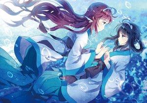 Rating: Safe Score: 43 Tags: 2girls aliasing black_hair brown_hair bubbles domotolain long_hair mukaido_manaka nagi_no_asukara shiodome_miuna underwater water User: RyuZU