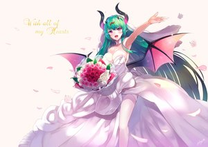 Rating: Safe Score: 49 Tags: breasts cleavage demon dress flowers green_hair horns long_hair lord_of_walkure petals pointed_ears purple_eyes rose sora-bozu thighhighs wedding_attire wings User: otaku_emmy