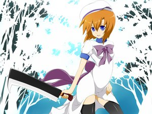 Rating: Safe Score: 70 Tags: blue_eyes hat higurashi_no_naku_koro_ni nemu_(nebusokugimi) ryuuguu_rena thighhighs weapon User: HawthorneKitty