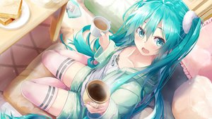 Rating: Safe Score: 90 Tags: aqua_eyes aqua_hair daidou_(demitasse) drink flat_chest food hatsune_miku hoodie jpeg_artifacts long_hair shorts thighhighs twintails vocaloid zettai_ryouiki User: Fepple