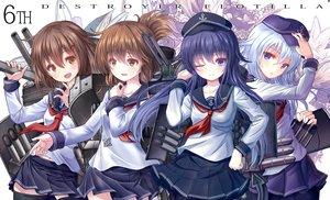 Rating: Safe Score: 43 Tags: akatsuki_(kancolle) anthropomorphism blue_hair blush brown_eyes brown_hair fang hat hibiki_(kancolle) ikazuchi_(kancolle) inazuma_(kancolle) kantai_collection pantyhose purple_eyes school_uniform short_hair skirt thighhighs wink yatsu_seisakusho User: RyuZU