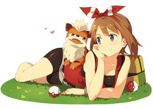 Rating: Safe Score: 141 Tags: animal bike_shorts blue_eyes bow brown_hair grass growlithe haruka_(pokemon) headband kinta_(distortion) pokemon shorts wristwear User: Flandre93