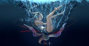 Rating: Safe Score: 172 Tags: hc headphones jpeg_artifacts long_hair ponytail tagme_(character) thighhighs underwater utau water wristwear User: RyuZU