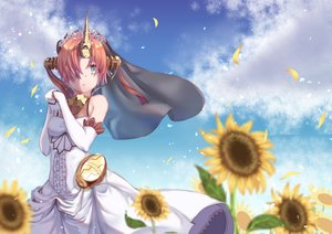 Rating: Safe Score: 32 Tags: aliasing aqua_eyes clouds dress elbow_gloves fate/apocrypha fate_(series) flowers frankenstein gloves headdress horns short_hair sky sunflower ye_zi_you_bei_jiao_ju_ge User: RyuZU