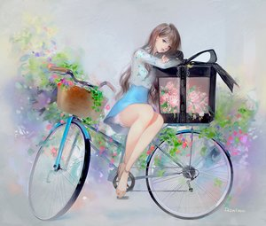 Rating: Safe Score: 111 Tags: bicycle blue_eyes bow brown_hair dadachyo dress flowers long_hair original ribbons signed User: mattiasc02
