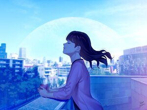 Rating: Safe Score: 38 Tags: building city clouds drink foo_midori long_hair original planet polychromatic rooftop signed sky tree User: otaku_emmy