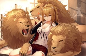 Rating: Safe Score: 40 Tags: animal animal_ears arknights blonde_hair breasts candy catgirl cleavage lion lollipop long_hair myung ponytail shorts siege_(arknights) yellow_eyes User: gnarf1975
