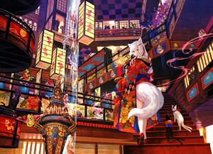 Rating: Safe Score: 61 Tags: animal bell blue_eyes bow braids butterfly cat catgirl fish flowers fuji_choko japanese_clothes kimono long_hair original stairs tail twintails water waterfall white_hair User: BattlequeenYume