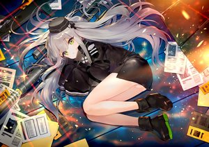 Rating: Safe Score: 53 Tags: 88_flak_(ash_arms) ainy77 anthropomorphism ash_arms boots dress gray_hair green_eyes gun hat long_hair paper twintails weapon User: Dreista