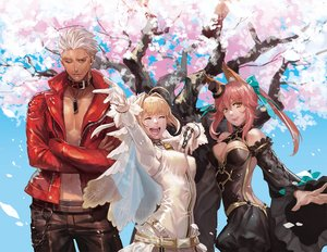Rating: Safe Score: 44 Tags: animal_ears archer breasts brown_eyes chain cherry_blossoms collar fate_(series) fate/stay_night flowers long_hair male nero_claudius_(bride) nero_claudius_(fate) petals pink_hair tagme_(artist) tamamo_no_mae_(fate) tree User: RyuZU