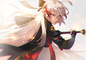 Rating: Safe Score: 47 Tags: dark_skin fate/grand_order fate_(series) gray_eyes gray_hair long_hair sakura_saber sakura_saber_alter sword tagme_(artist) weapon User: otaku_emmy