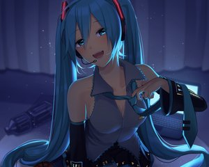 Rating: Safe Score: 70 Tags: apple aqua_eyes aqua_hair computer cropped dark food fruit hatsune_miku long_hair nokuhashi twintails vocaloid User: mattiasc02