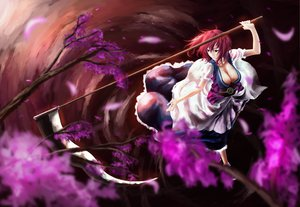 Rating: Safe Score: 55 Tags: akaikitsune breasts cherry_blossoms cleavage dress onozuka_komachi petals red_hair scythe touhou weapon User: opai
