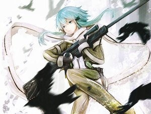 Rating: Safe Score: 115 Tags: animal bird blue_eyes blue_hair gloves gun gun_gale_online marumoru scarf shinon_(sao) short_hair sword_art_online weapon User: FormX