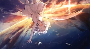 Rating: Safe Score: 6 Tags: akebisousaku clouds dress short_hair sky sunset tears vocaloid white_hair wings User: FormX