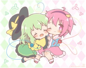 Rating: Safe Score: 3 Tags: 2girls chibi dress green_hair hat komeiji_koishi komeiji_satori mitarashi_neko pink_eyes pink_hair shoujo_ai touhou watermark wink User: Xionglongztz