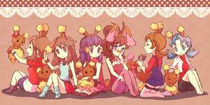 Rating: Safe Score: 74 Tags: animal_ears blush brown_hair bunny_ears bunnygirl camera cosplay haruka_(pokemon) hikari_(pokemon) kotone_(pokemon) kris_(pokemon) leaf_(pokemon) long_hair pokemon scarf skirt tail thighhighs torute touko_(pokemon) twintails User: PAIIS