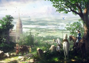 Rating: Safe Score: 142 Tags: animal bird bow_(weapon) building grass hat horse landscape makkou4 male original scenic signed tree water weapon User: Flandre93