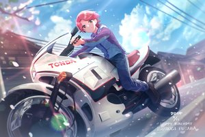 Rating: Safe Score: 20 Tags: clouds daystar isurugi_futaba motorcycle petals pink_hair purple_eyes short_hair shoujo_kageki_revue_starlight sky User: FormX