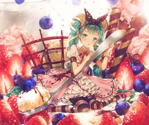 Rating: Safe Score: 50 Tags: aqua_eyes aqua_hair blush cake dangmill dress food fruit hatsune_miku headband lolita_fashion long_hair stockings strawberry twintails vocaloid User: luckyluna