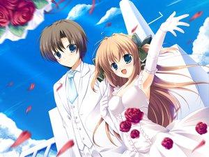 Rating: Safe Score: 55 Tags: asuka_mirai blue_eyes brown_hair elbow_gloves flowers game_cg gloves journey long_hair mikeou nanairo_kouro rose wedding_attire User: Wiresetc