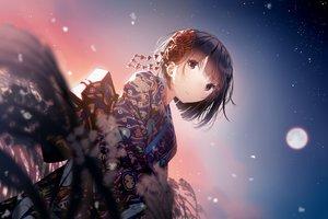 Rating: Safe Score: 117 Tags: atha brown_eyes brown_hair japanese_clothes kimono original short_hair sky stars User: RyuZU