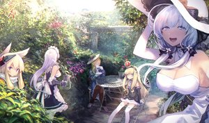 Rating: Safe Score: 95 Tags: animal_ears anthropomorphism azur_lane belfast_(azur_lane) blonde_hair blue_eyes bow breasts cleavage dress drink elbow_gloves flowers gloves group hat hood_(azur_lane) illustrious_(azur_lane) long_hair maid mephist-pheles purple_eyes queen_elizabeth_(azur_lane) scarf summer_dress twintails warspite_(azur_lane) white_hair User: RyuZU