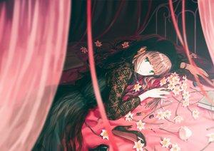 Rating: Safe Score: 155 Tags: bed book brown_hair dress flowers green_eyes hiten_goane_ryu lolita_fashion long_hair original User: sadodere-chan