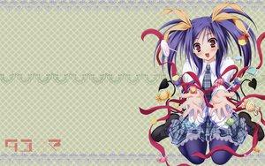 Rating: Safe Score: 17 Tags: blue_hair blush candy kawai_ameri moekibara_fumitake red_eyes ribbons school_uniform tayutama User: rargy