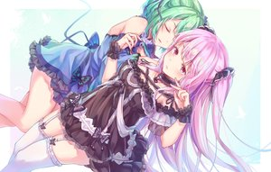 Rating: Safe Score: 74 Tags: 2girls bow butterfly choker dress garter_belt goth-loli green_hair hololive lolita_fashion long_hair pink_hair red_eyes sen_miyagawa short_hair stockings uruha_rushia zettai_ryouiki User: mattiasc02