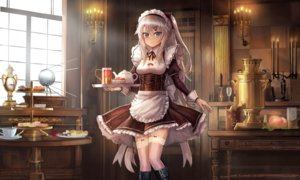 Rating: Safe Score: 68 Tags: 9a-91_(girls_frontline) anthropomorphism apron blue_eyes boots drink garter_belt girls_frontline gray_hair headdress lithium10mg long_hair maid ponytail stockings thighhighs User: Nepcoheart