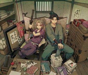 Rating: Safe Score: 95 Tags: all_male book japanese_clothes long_hair male miyuki_ruria ninja ponytail rakudai_ninja_rantarou shioe_monjirou tamura_mikiemon User: PAIIS