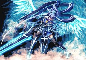 Rating: Safe Score: 353 Tags: aoki_reika blue_hair long_hair merontomari precure smile_precure! sword weapon wings User: luckyluna