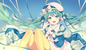 Rating: Safe Score: 49 Tags: blush bow clouds gloves green_eyes green_hair halo hat hatsune_miku long_hair pantyhose signed silltare sky stars twintails vocaloid User: RyuZU