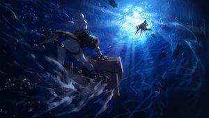 Rating: Safe Score: 38 Tags: 2girls anthropomorphism azur_lane bismarck_(azur_lane) blue_hair panties swd3e2 twintails u-556_(azur_lane) underwater underwear water User: Nepcoheart