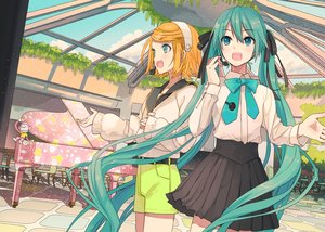 Rating: Safe Score: 44 Tags: 2girls aqua_eyes aqua_hair blonde_hair blue_eyes hatsune_miku ikushima instrument kagamine_rin long_hair microphone piano short_hair twintails vocaloid User: Fepple