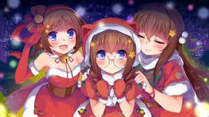 Rating: Safe Score: 39 Tags: bell blue_eyes blush bow braids brown_hair christmas dress elbow_gloves glasses gloves headband long_hair nerv110 original santa_costume short_hair twintails User: RyuZU