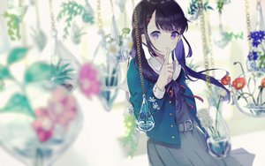 Rating: Safe Score: 86 Tags: black_hair chain dress flowers kusaka_kou long_hair original purple_eyes ribbons twintails water User: RyuZU