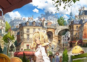 Rating: Safe Score: 80 Tags: animal bird black_eyes blonde_hair building city clouds long_hair matsuda_(matsukichi) original tree User: RyuZU